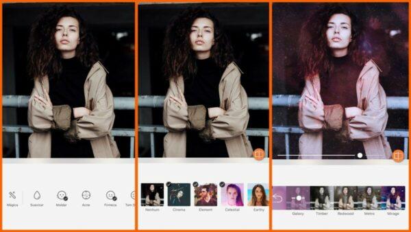 Montagem com 3 fotos de uma mulher com braços cruzados mostrando como usar o Filtro do pack Element do AirBrush