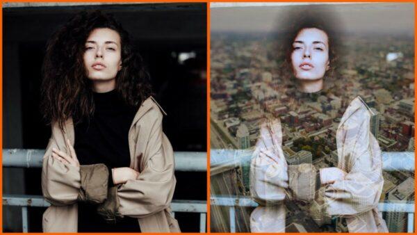 Montagem com 2 fotos de uma mulher com braços cruzados mostrando o antes e depois ao usar o filtro Metro