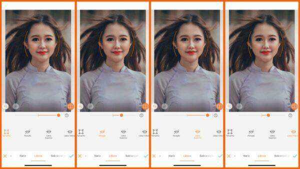 Foto ensinando a usar a ferramenta Moldar do AirBrush. Foto1 editando o tamanho dos lábios. Foto 2 a posição. Foto 3 o lábio superior e a foto 4 o inferior.