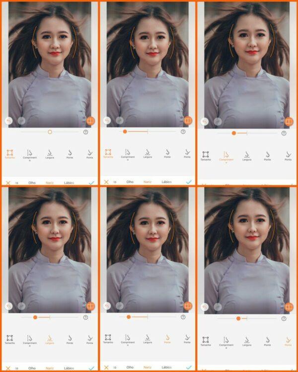 Foto ensinando a usar a ferramenta Moldar do AirBrush. Foto1 editando o tamanho do nariz. Foto 2 editando o comprimento. Foto 3, a largura. Foto 4, afinando e foto 5 a ponta do nariz.