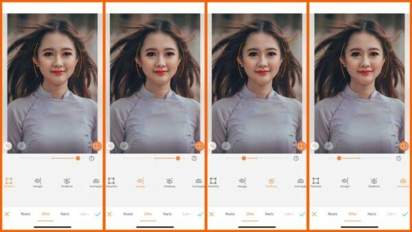 Foto ensinando a usar a ferramenta Moldar do AirBrush. Foto1 editando o tamanho do olho. Foto 2, alongando. Foto 3 aplicando a distância e foto 4 a inclinação.