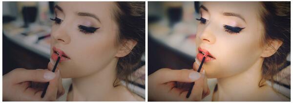 antes y después de una mujer aplicándose maquillaje