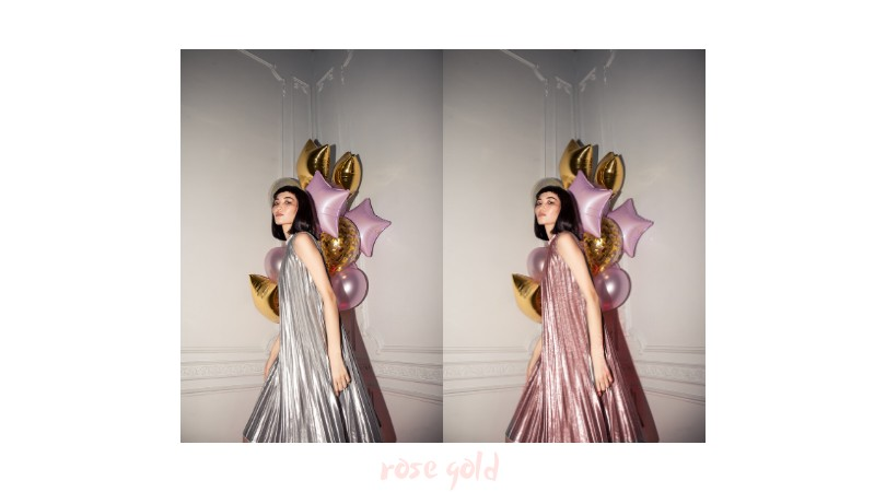 side by side photos of a woman wearing a silver and pink gown