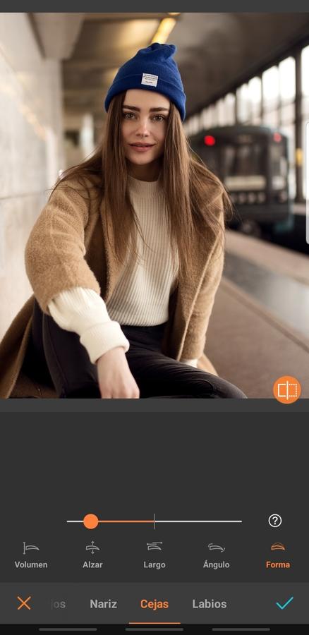 foto de mujer con cabello largo usando la herramienta para editar las cejas