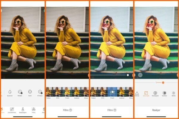 Montagem com 4 fotos da mesma mulher posando sentada com um vestido amarelo. Nessa montagem mostra uma edição usando as ferramentas do AirBrush.