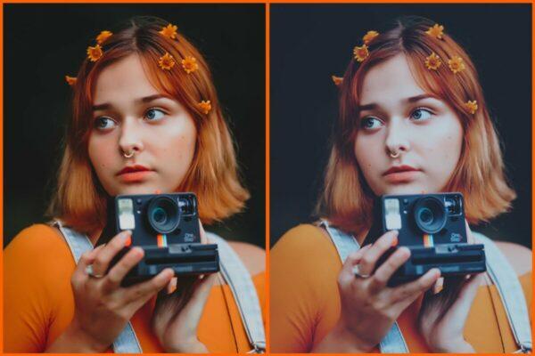 antes e depois da foto de uma mulher ruiva, segurando uma máquina polaroid sendo que uma foto está com o filtro FZ-3 do AirBrush