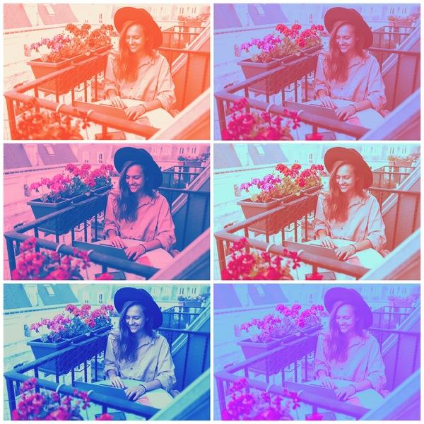 Collage de fotos de mujer rubia con sombrero trabajando en un balcón en Paris. Son 6 fotos, cada imagen tiene un filtro de color distinto.