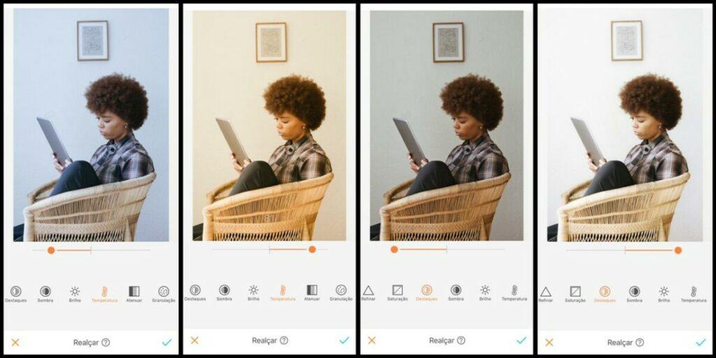 foto de uma mulher negra sentada lendo sendo editada pelo AirBrush