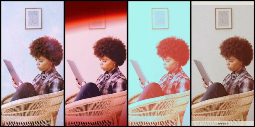 foto de uma mulher negra sendo e lendo com diferentes filtros