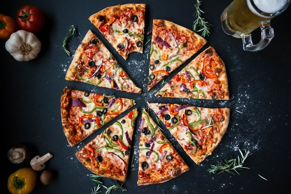 pizza flat lay with ingredients