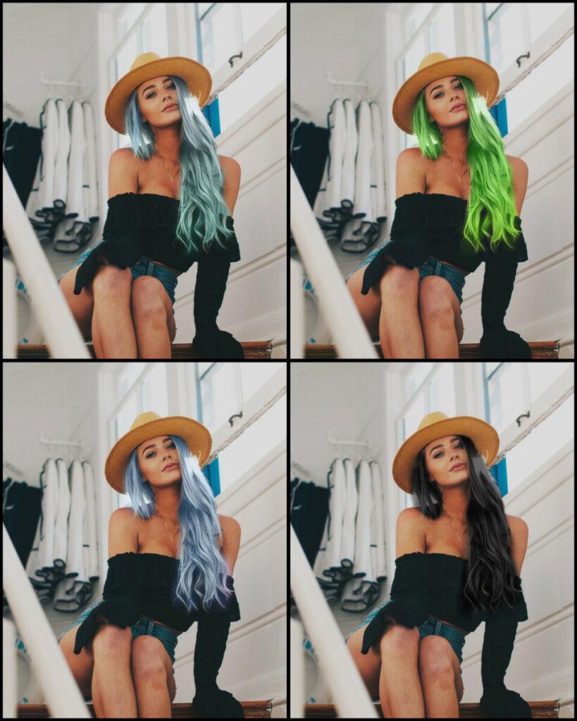 Seu cabelo de várias cores