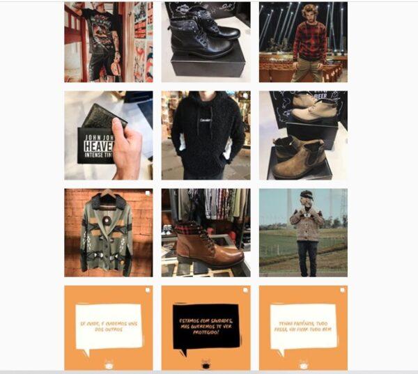 Uma imagem de um feed do Instagram com fotos de um homem, sapatos e textos
