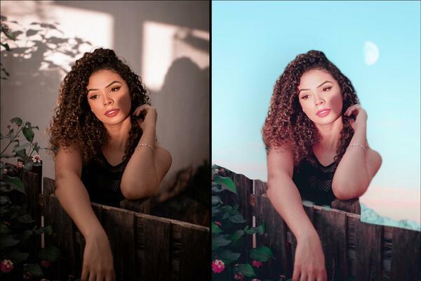 Montagem com 2 fotos da mesma mulher posando em uma cerca de madeira mostrando o antes e depois da edição.
