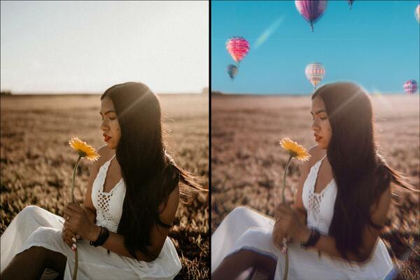 Montagem com 2 fotos da mesma mulher sentada em um campo aberto com um girassol na mão. Foto 1 original e Foto 2 com balões adicionados em uma edição do AirBrush.