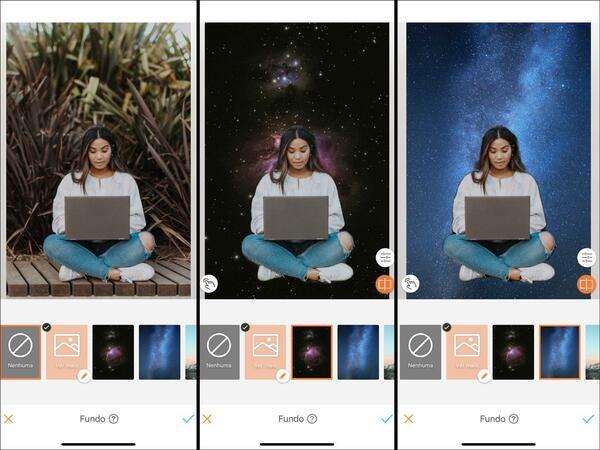 Montagem com 3 fotos da mesma mulher usando o computador. Nessa montagem mostra uma edição usando a ferramenta Fundo do AirBrush.