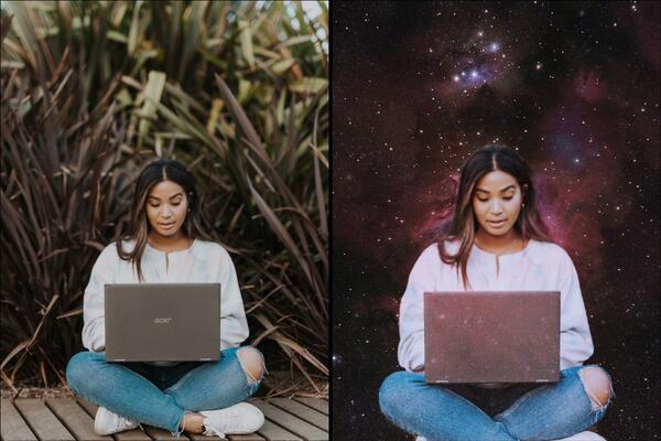 Montagem com 2 fotos da mesma mulher usando o computador mostrando o antes e depois da edição.