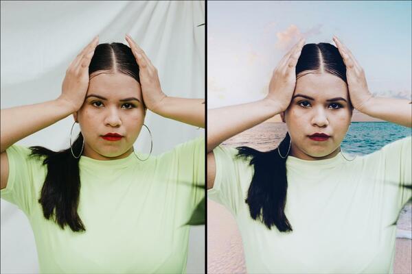 Montagem com 2 fotos da mesma mulher com as mãos na cabeça mostrando o antes e depois da edição.