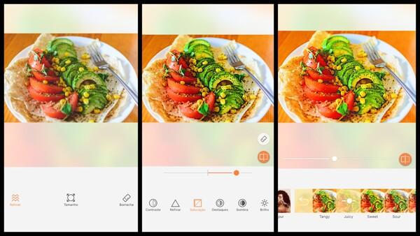 Montagem com 3 fotos de um prato com salada. Nessa montagem mostra uma edição usando as ferramentas do AirBrush.