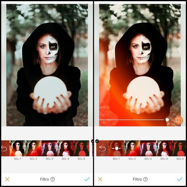 antes e depois da foto de uma mulher com metade do rosto com maquiagem de caveira segurando uma bolo de cristal sendo que uma das fotos está sendo utilizado o filtro SCL-1 do AirBrush