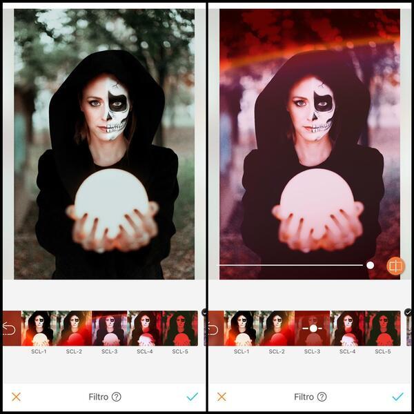 antes e depois da foto de uma mulher com metade do rosto com maquiagem de caveira segurando uma bolo de cristal sendo que uma das fotos está sendo utilizado o filtro SCL-3 do AirBrush