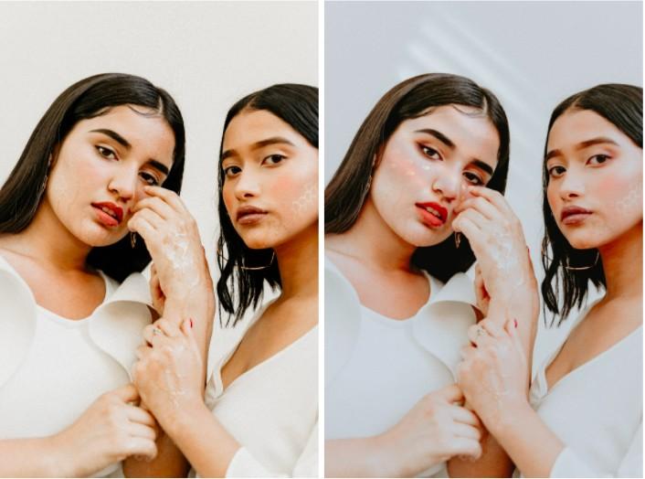 dos amigas con maquillaje, vestidas de blanco