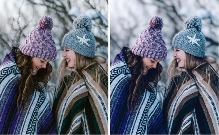 dos amigas en ropa de invierno en la montaña