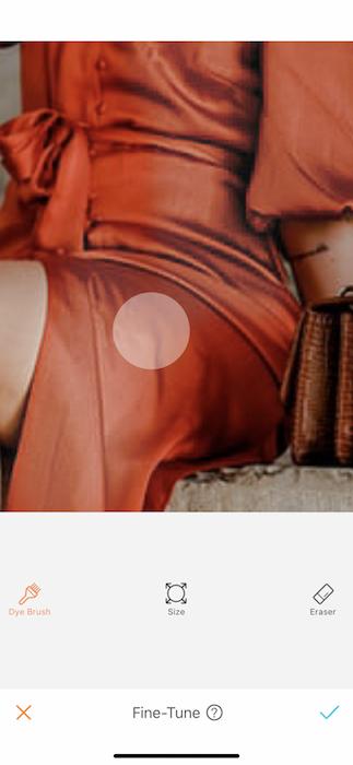 closeup of orange dress