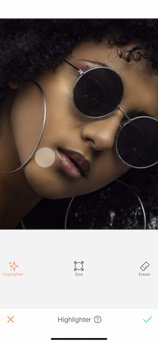 closeup of woman wearing sunglasses