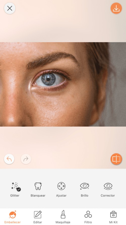 closeup de maquillaje de mujer