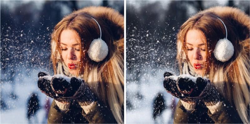 edición de foto con nieve usando glitter