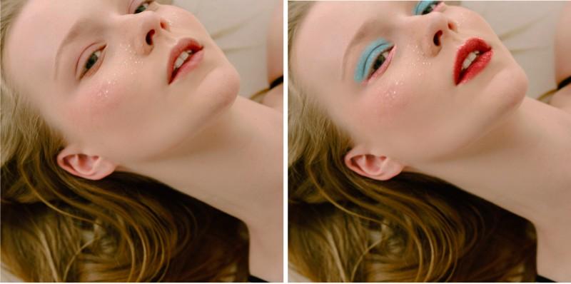 edición de foto de maquillaje usando la herramienta GLitter