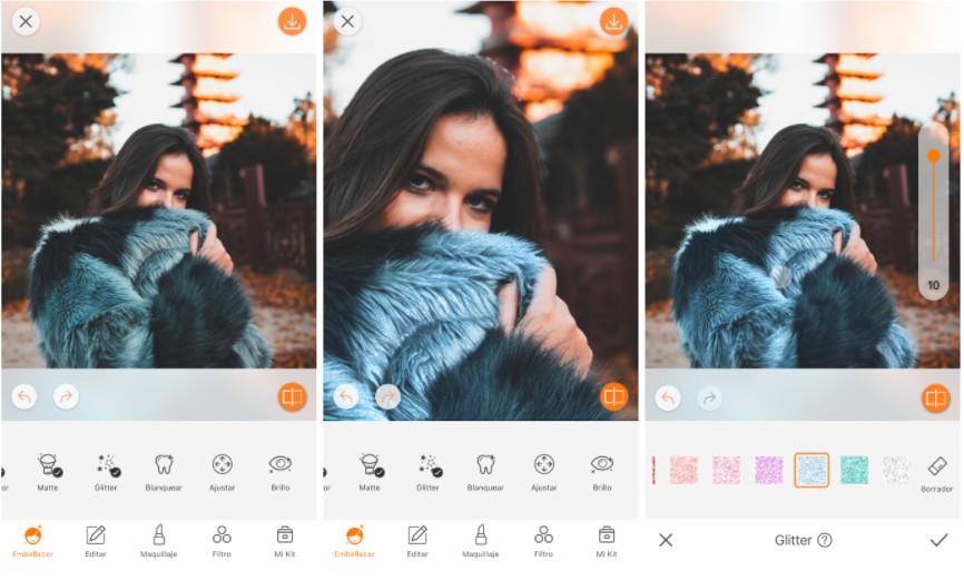 edición de foto de mujer con abrigo usando la herramienta Glitter
