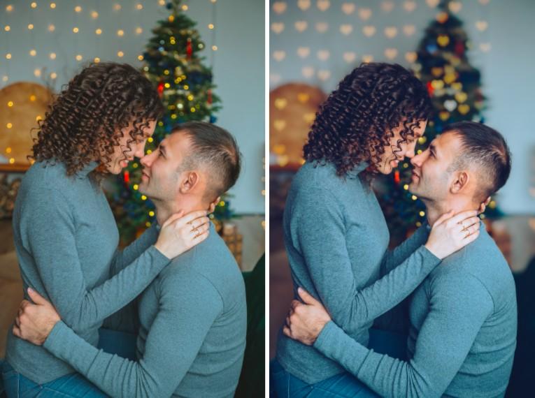 pareja dándose un beso en fotos con vibras de invierno