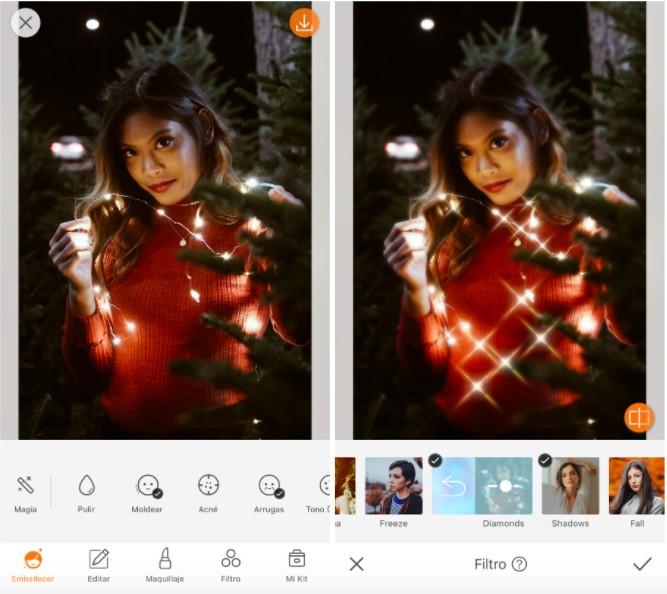 mujer con luces navideñas en fotos con vibras de invierno