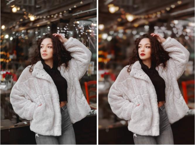 mujer en fotos con vibras de invierno
