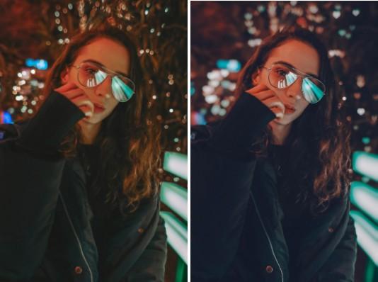 Mujer con lentes con luces y reflejos neón