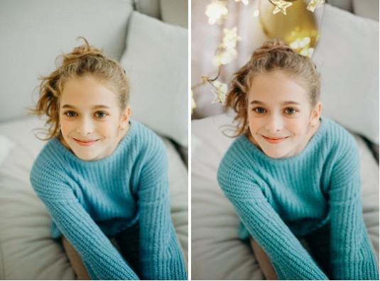 niña feliz con blusa de manga larga verde