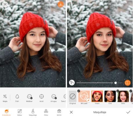 mujer con gorrito rojo de navidad y maquillaje de reno