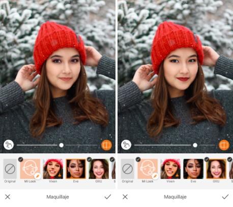 mujer con gorrito rojo de navidad y maquillaje de labios rojos