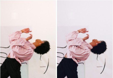 edición de foto de mujer con blusa rosa