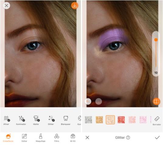 edición de foto usando glitter en los párpados