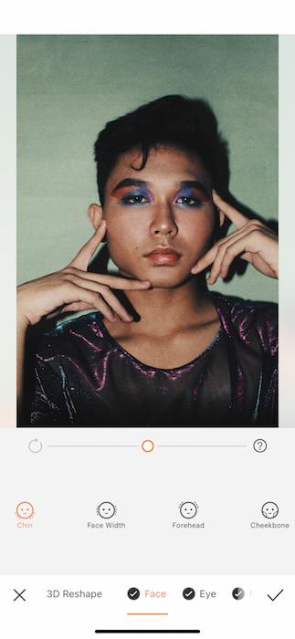 AirBrush edit of man in colorful makeup