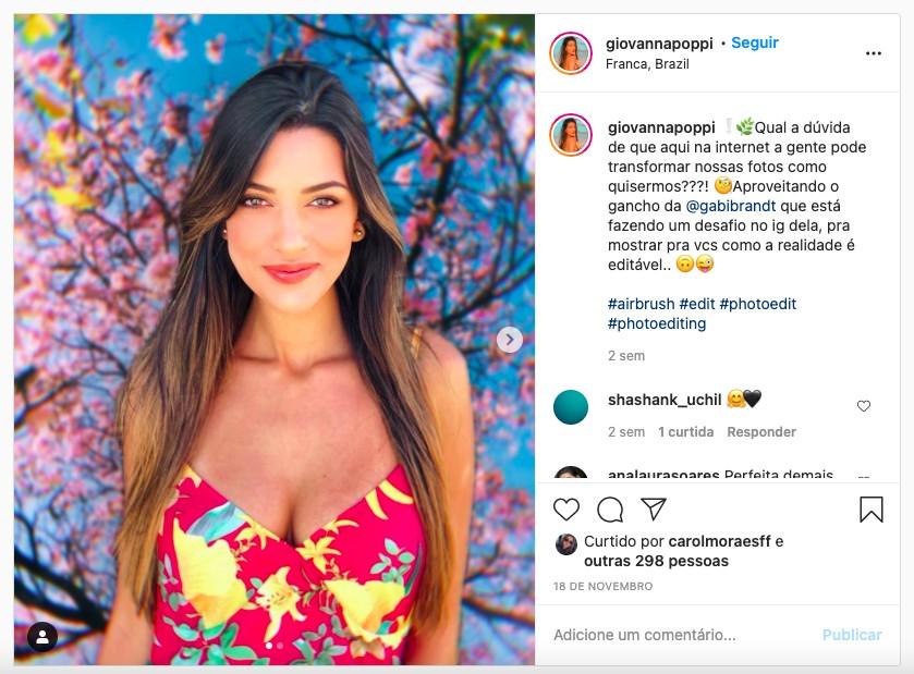 Print da foto do instagram do perfil da Giovanna Poppi em que a foto está com um fundo editado