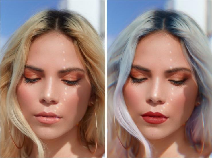 Un antes y un después de una modelo rubia, mostrando cómo se maquilló y un nuevo color usando AirBrush.