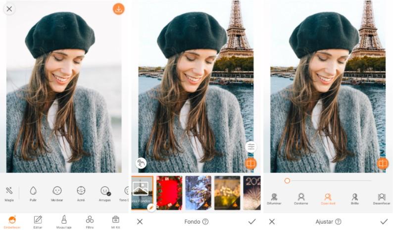 Un collage con tres fotos de una modelo con boina, editando con la herramienta Fondo y la Torre Eiffel en la parte posterior.