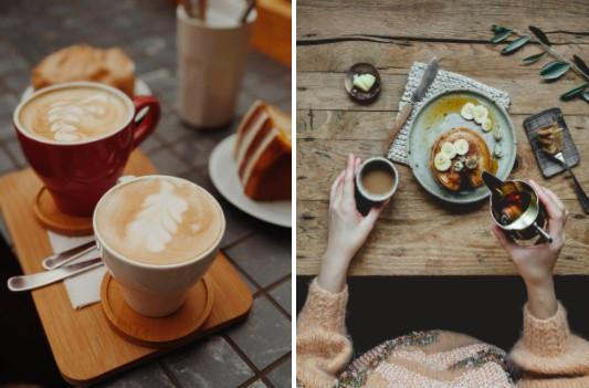 fotografía de un brunch con café y hotcakes