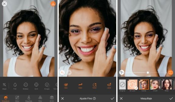 Ajustar el maquillaje en el rostro de una mujer negra con AirBrush