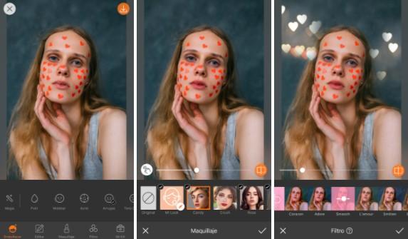 Un montaje con tres imágenes con una foto de una chica rubia, editada con AirBrush, poniendo filtros de corazones.