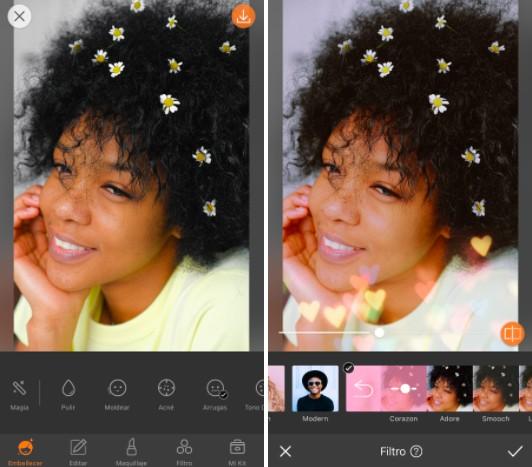 Un montaje con dos imágenes con una foto de una chica de pelo rizado, editada con AirBrush, poniendo filtros de corazones.