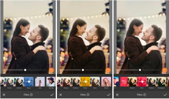 Uma montagem com três imagens una pareja, un hombre rubio y una chica asiática, mirándose en una imagen iluminada con un cielo de fondo. Usando Filtros.